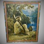 R. Atkinson Fox Vintage Calendar Print of Indian Maiden