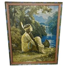R. Atkinson Fox Vintage Calendar Print of Indian Maiden