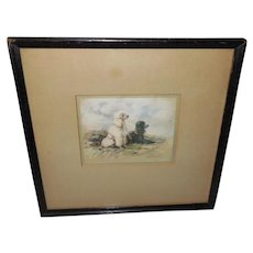 Lucy Dawson Vintage Print of Black and White Poodles