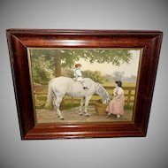 Vintage Calendar Print of Child on White Horse