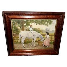 Vintage Calendar Print of Child on White Horse