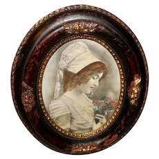 Hand Tinted Photo Print in Small Oval Acorn Frame