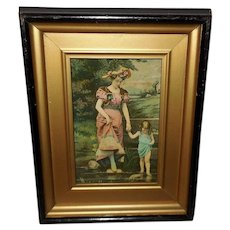 Vintage Print Mother and Daughter Shadow Box Frame