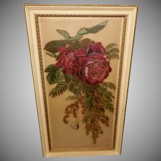 Red Roses and Butterfly Painted on Beveled Glass