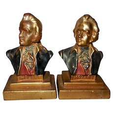 Armor Bronze Polychrome Mozart Bookends