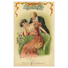 Embossed Romantic Christmas Postcard with Glitter