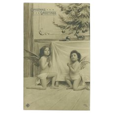 Vintage Christmas Photo Postcard of Two Angelic Children