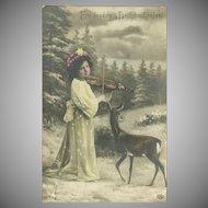 Tinted Photo German Christmas Postcard of Girl and Deer