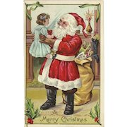 Embossed Christmas Postcard with Santa Claus and Bag of Toys