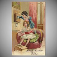 PFB Embossed 1910 Christmas Postcard with Boy and Girl on Old Telephone