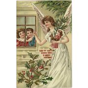 Embossed Gel Christmas Postcard with Angel, Children, and Toys