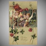 Embossed PFB 1908 Christmas Postcard with Three Children