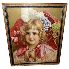 Chromolithograph Prudential 1899 Calendar Print of Young Girl in Red
