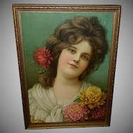 Prudential Chromolithograph 1904 Calendar Print of Beautiful Brunette