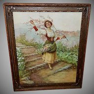 Carlo Ferranti Vintage Print of Lady with Flowers