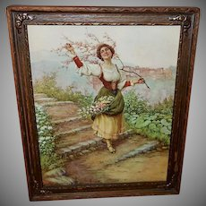 Carlo Ferranti Vintage Print of Lady with Flowers