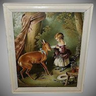 Sir Edwin Landseer Chromolithograph of The Pet Fawn