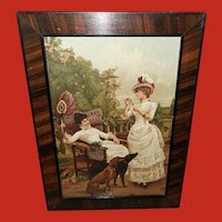 Georges Van Den Bos Chromolithograph of Two Women and Two Dogs