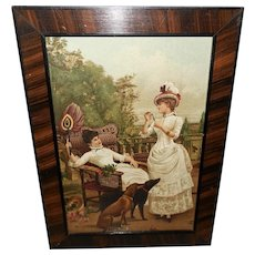 Chromolithograph of Two Women and Two Dogs