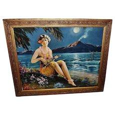 Vintage Print of Fairest Flower Hawaiian Girl Playing Musical Instrument