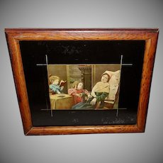 Vintage Print of Mother and Two Children With Reverse Painted Border