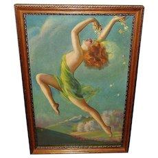 Lady Dancing Vintage Print of Springtime by Irene Patten