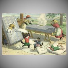 Max Kunzli Dressed Cats Postcard - Cleaning the Beds