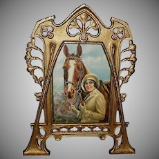 Cast Iron Table Top Frame With Lady and Horse Calendar Print