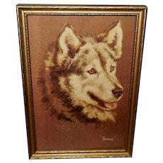 Josephine Crumrine Vintage Print of Husky Dog Smokey