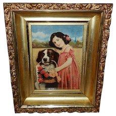 Vintage Print of Girl and Saint Bernard Dog in Ornate Frame