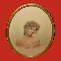 Oval Tinted Photo Print of Lovely Lady