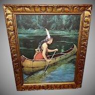 James Arthur Vintage Calendar Print of Indian Maiden in Canoe