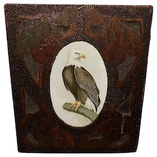 Chromolithograph of American Bald Eagle in Carved Pyrography Wood Frame