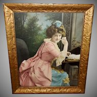 Vintage Print of Lovely Lady Writing a Letter