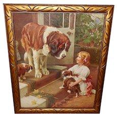 Arthur Elsley Vintage Print of Girl with Saint Bernard Dog and Puppies