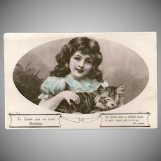 Glossy 1924 Birthday Postcard of Girl with Cat