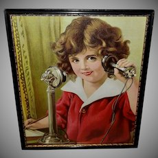Chromolithograph of Child on Candlestick Phone