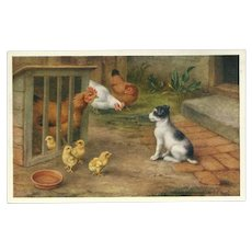 Edgar Hunt Vintage Postcard of Dog with Chickens