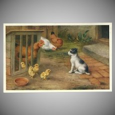 Edgar Hunt Vintage Postcard of Dog with Chickens