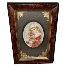 Petite Chromolithograph of Young Girl Holding Rabbit