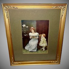 Vintage Print of Mother Reading to Daughter