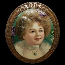 Embossed Chromolithograph of Beautiful Blonde in Oval Frame
