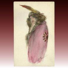 M. Farini Tinted Indian Maiden Postcard