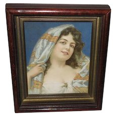 Small Chromolithograph of Beautiful Gypsy Style Lady