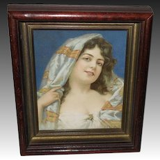 Small Chromolithograph of Beautiful Gypsy Style Lady