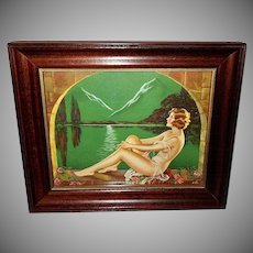 Vintage Fantasy Art Deco Style Print of Partially Clad Lady
