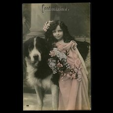Glossy German Photo Postcard of Girl with Dog Contentment