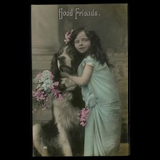 Glossy German Photo Postcard of Girl with Dog Good Friends