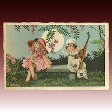 Bertiglia Signed Vintage Italian Postcard of Boy and Girl