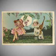 Bertiglia Signed Vintage Italian Postcard of Boy and Girl